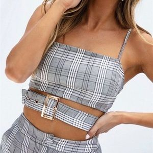 Black & grey plaid buckle crop top from Sabo Skirt